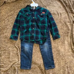 Boys 3T 2piece 7for mankind flannel & jeans set